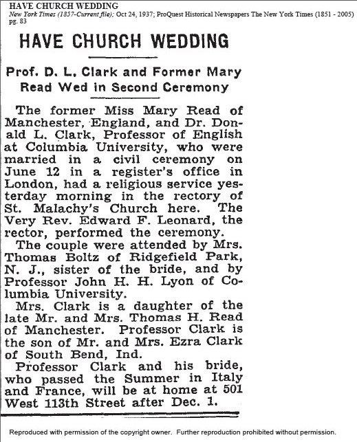 Mary Read Wedding