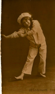 Lily 1911 aged 7 Sinbad with the Tillers